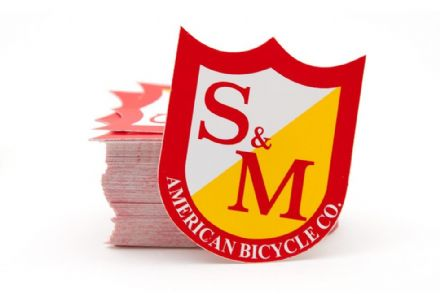 S&M Small Shield Stickers Red/Yellow (100 Pack)